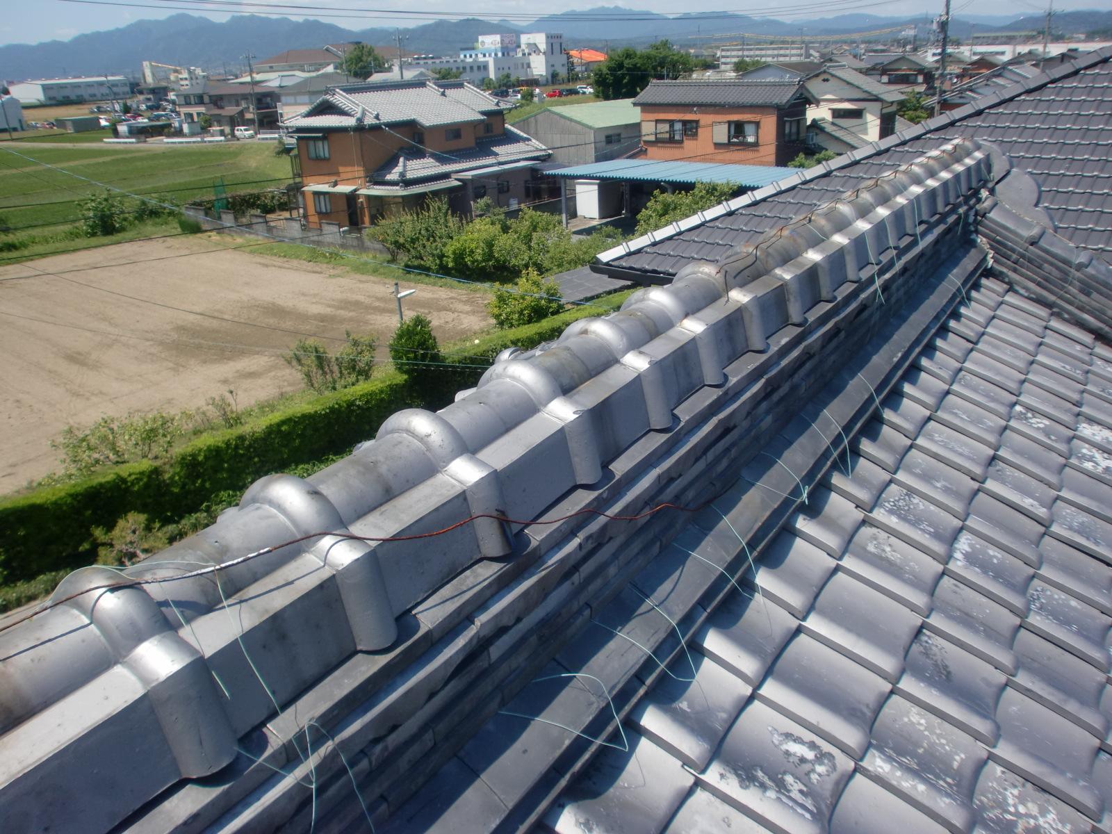 松阪市 T様邸 屋根修理・棟瓦の補強工事