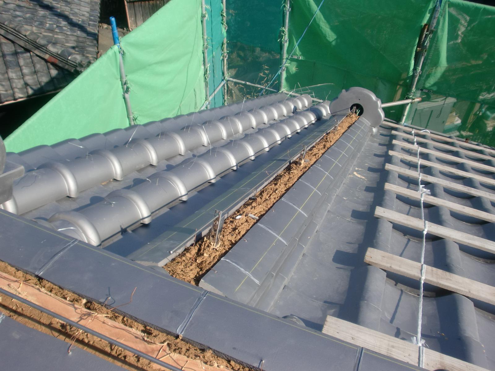 日本瓦の耐震工事