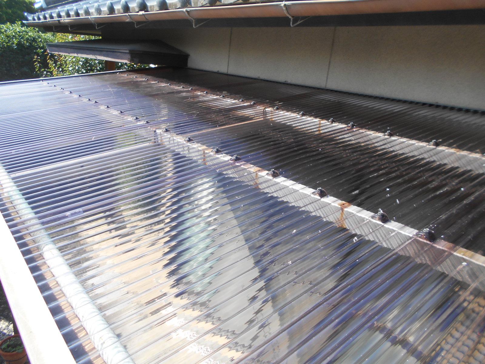 津市でテラス屋根波板張替工事