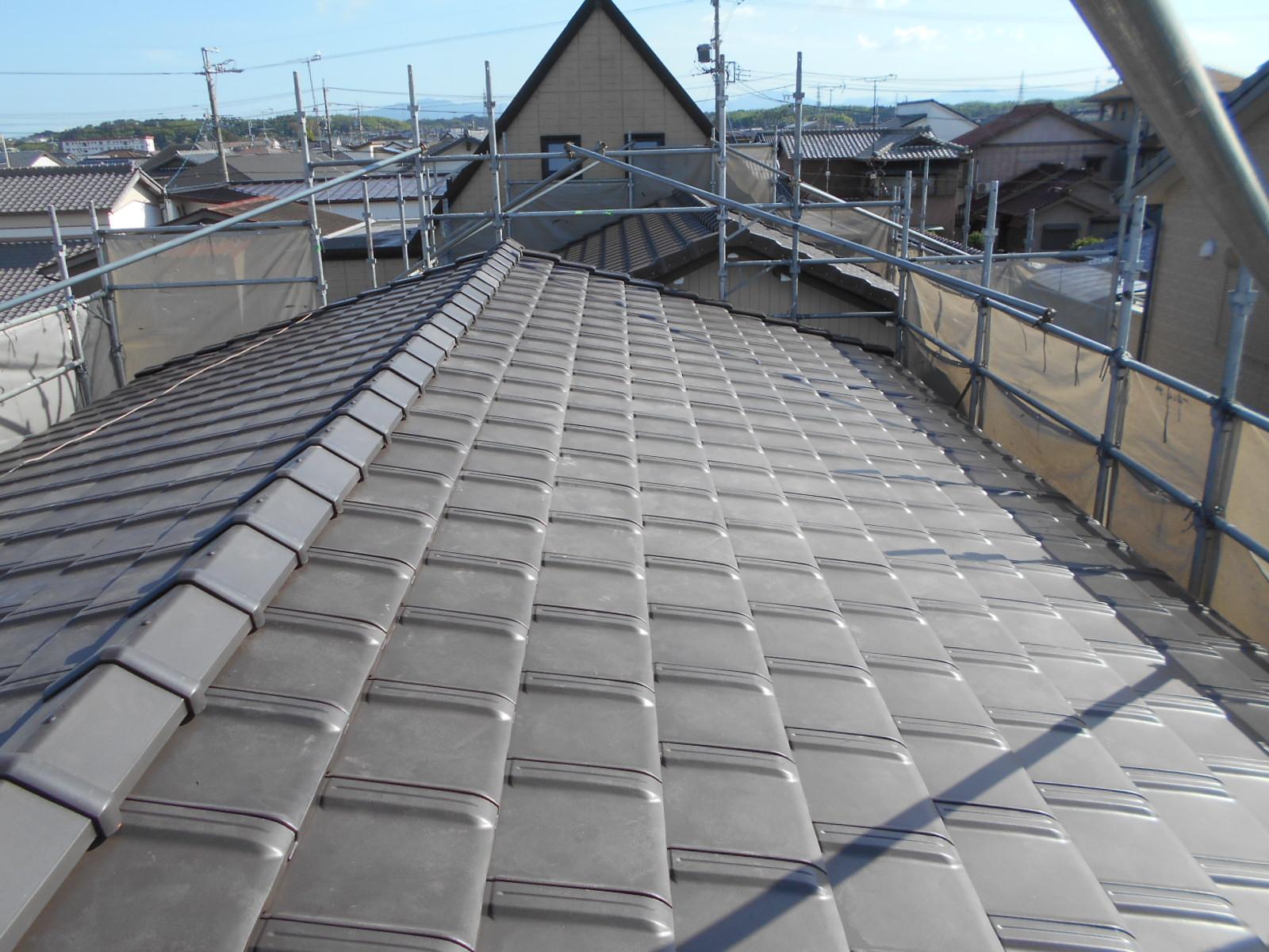 津市で屋根葺き替え工事